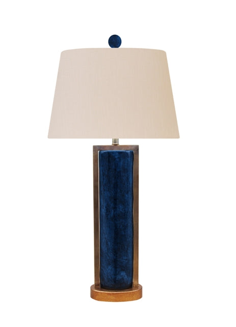 Dark Blue Jade Table Lamp