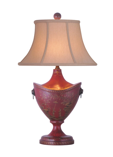 Classic Chinoiserie Painted Oriental Red Lacquer Table Lamp