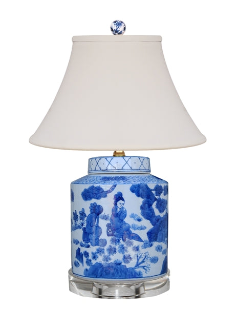 100% Hand Painted Blue & White Tea Jar Table Lamp