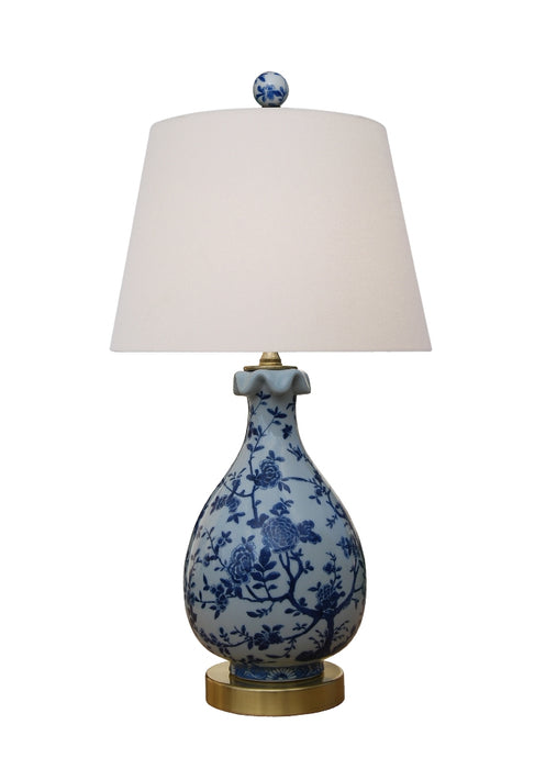 Blue & White Porcelain Wine Urn Table Lamp with Scallop Flower Top Design