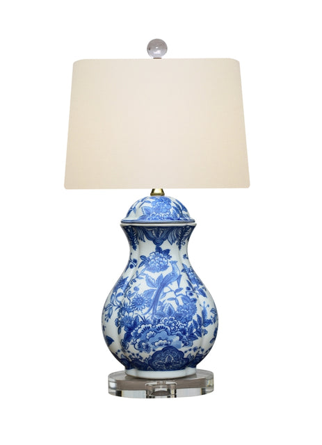 Porcelain Blue & White Oval Jar Table Lamp with Crystal Base