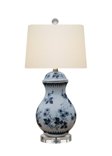 Dark Blue & White Porcelain Oval Jar Table Lamp on Crystal Base