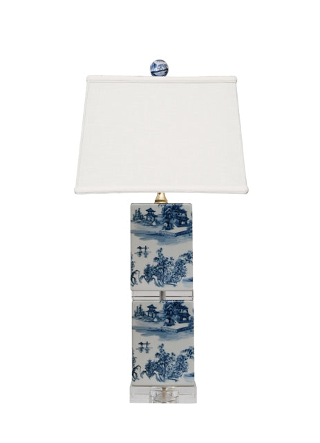 Porcelain Blue & White Square Post Lamp With Crystal Base