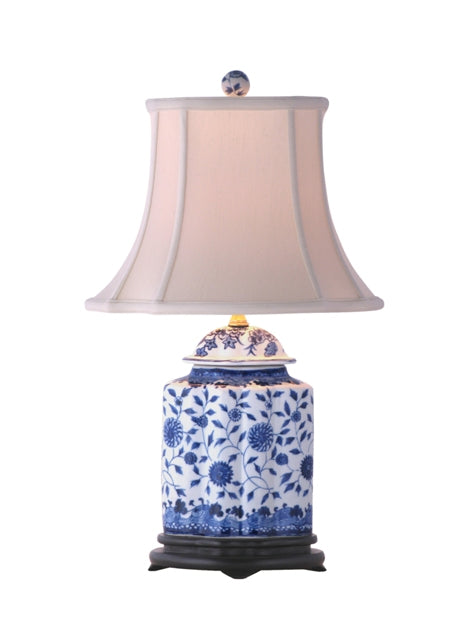 Blue and White Porcelain Falmouth Scalloped Tea Jar Lamp