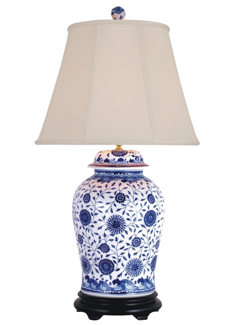 Blue and White Large Porcelain Temple Jar Table Lamp