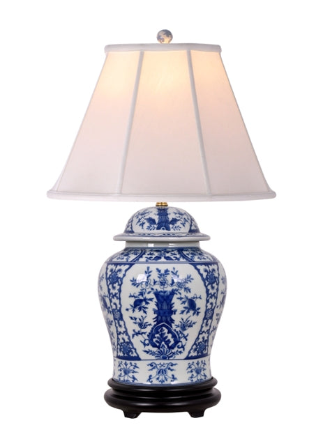 Porcelain Ceylon Temple Jar Table Lamp