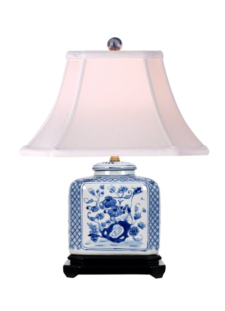 Porcelain Wexford Flat  Rectangle Jar Table Accent Lamp