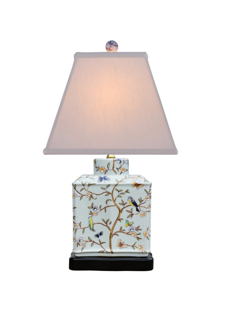 Porcelain Blue-Green Birds Flat Jar Table Lamp