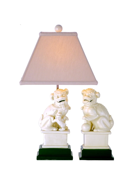 Pair of Ivory Porcelain Foo Lions Table Lamp