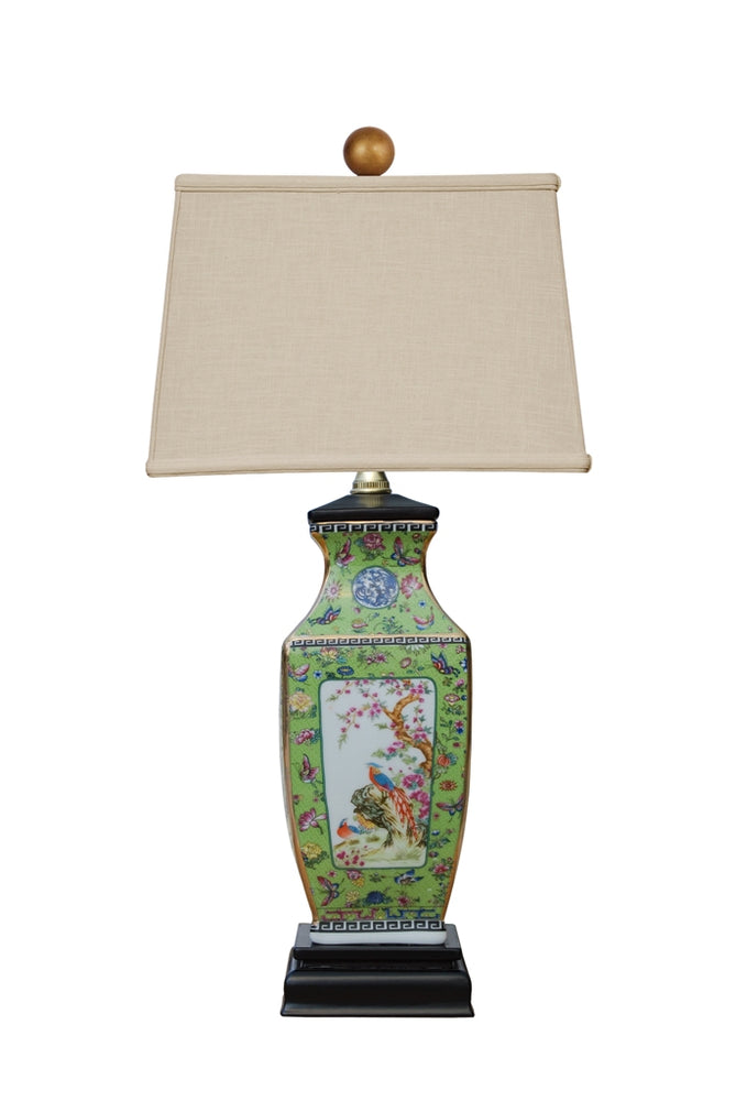Asian Square Green Panel Porcelain Lamp