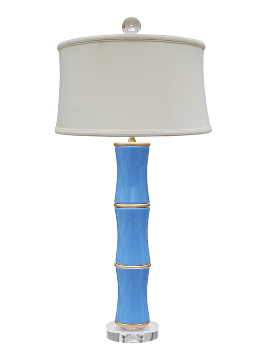 PORCELAIN FRENCH BLUE BAMBOO DESIGN LAMP WITH CRYSTAL BASE