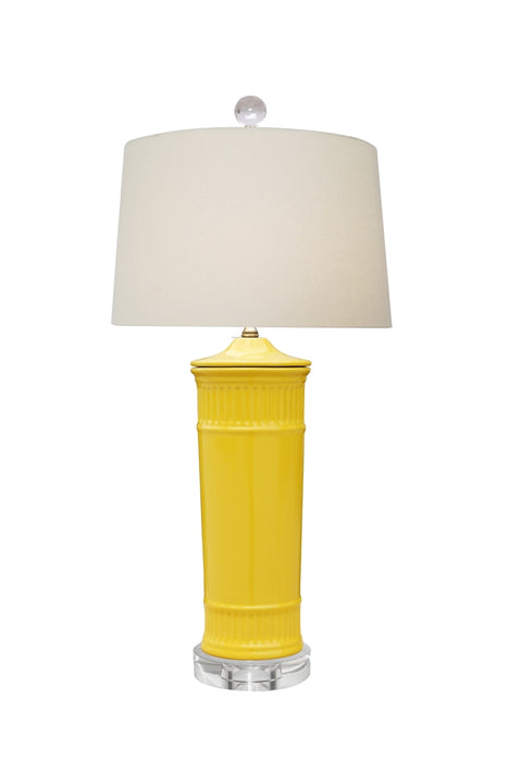 PORCELAIN YELLOW CYLINDER VASE LAMP with Crystal Base
