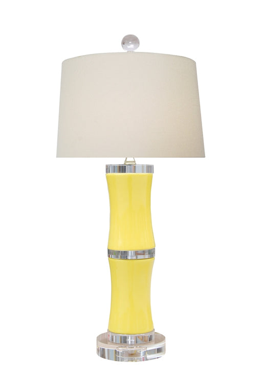 PORCELAIN YELLOW BAMBOO LAMP WITH CRYSTAL BASE AND ACCENTS
