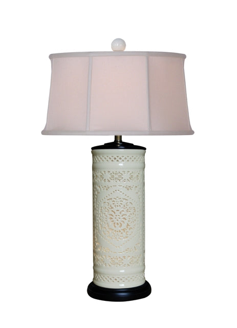 Pierced Bone China Table Lamp with interior Night Light