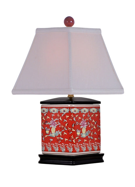 Porcelain Lucky Red Diamond Vase Lamp