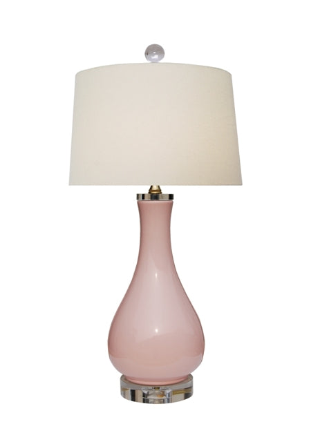 Porcelain Pink Vase Lamp with Crystal Base & Top