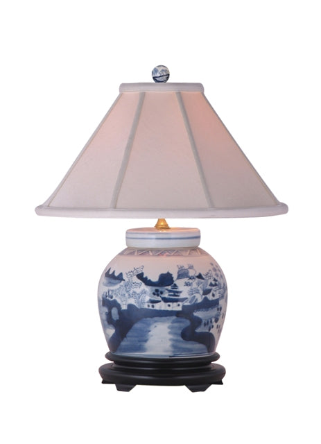 Porcelain Canton Water Scene Blue and White Classic Jar Lamp