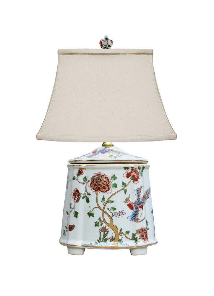 Mini Porcelain Rouge Flowers Teajar Table Lamp