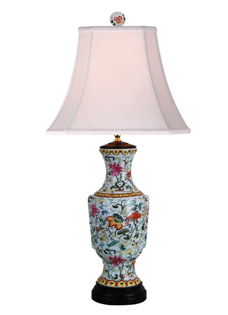 Porcelain Eden Colorful Elegant Floral Vase Table Lamp