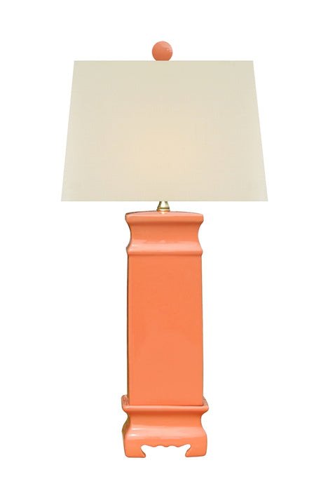 PORCELAIN CORAL RED SQUARE TABLE LAMP WITH MATCHING COLOR FOOTED BASE