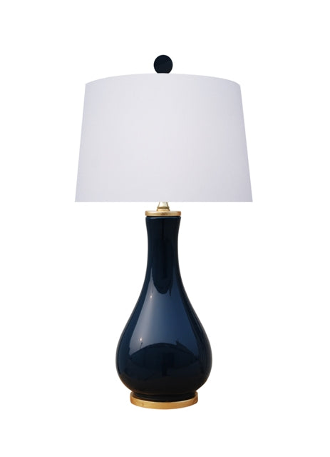 Porcelain Dark Navy Blue Vase Lamp with Gold Leaf Base & Top