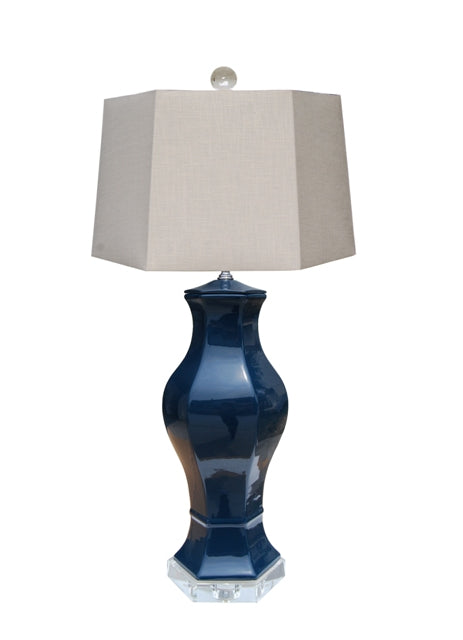 Porcelain Dark Navy Blue Hex Table Lamp