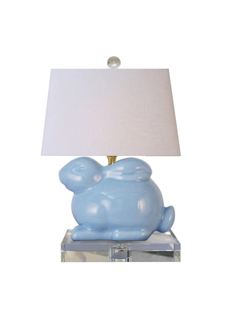 Porcelain Ice Blue Crystal Bunny Table Lamp