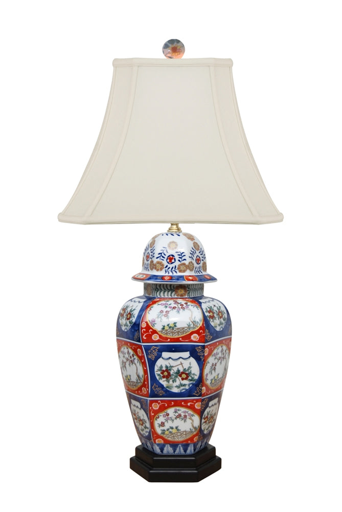 PORCELAIN HEX IMARI JAR TABLE LAMP WITH MATCHING HEX BASE