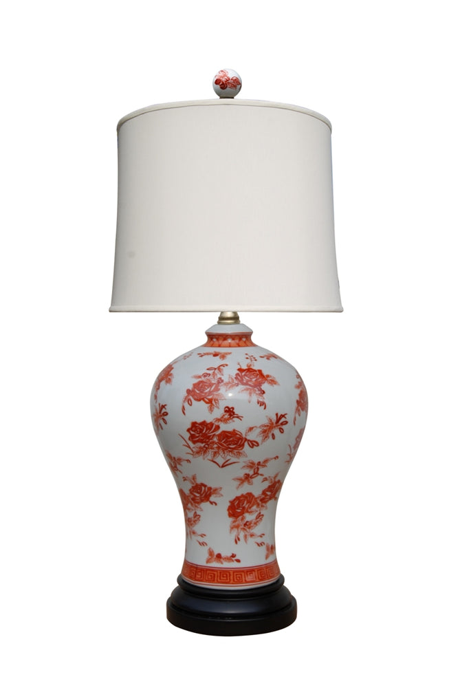 Porcelain Mandarin Orange Plum Shaped Vase Table Lamp