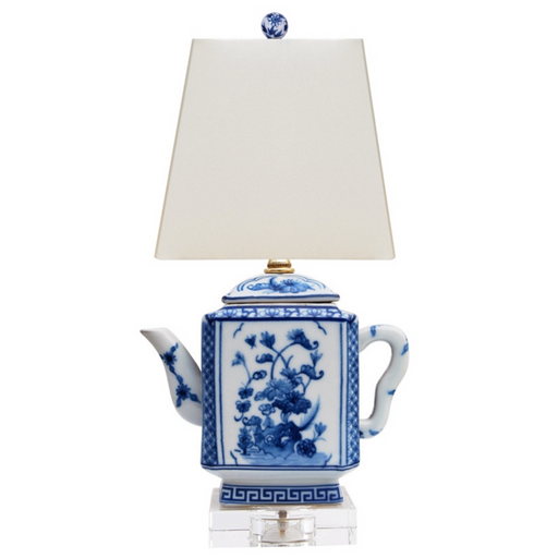Mini Porcelain Blue & White Square Teapot Table Lamp
