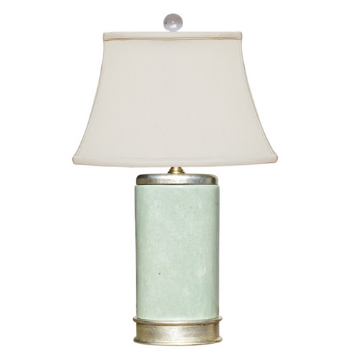 Mini Jade Green Table Lamp on Silver Leaf Base