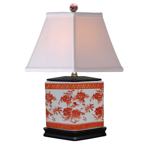 Mini Porcelain Orange Diamond Table Lamp