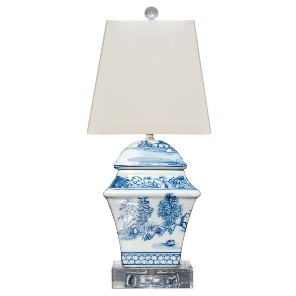 Mini Blue & White Porcelain Square Table Lamp