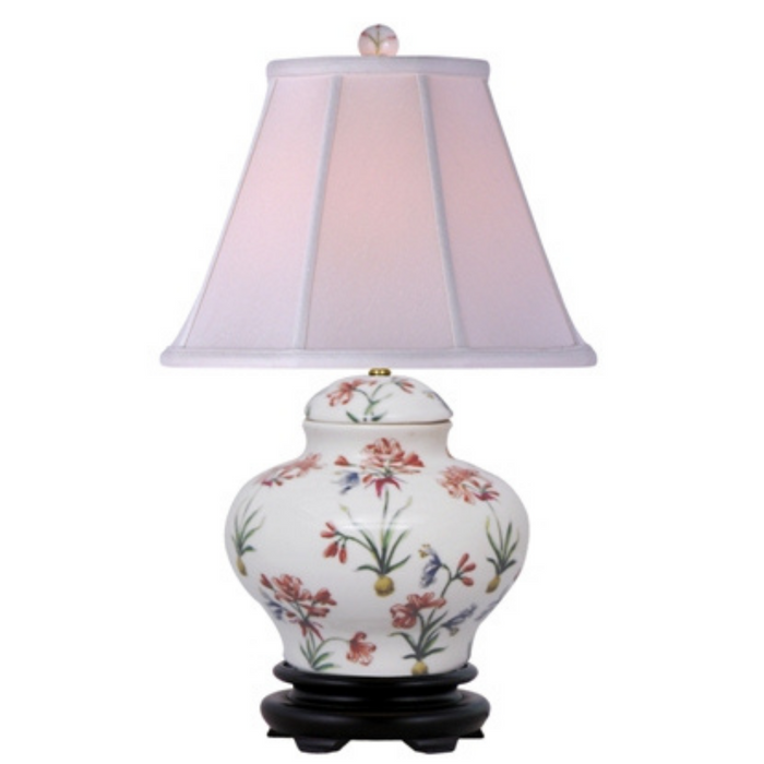 Mini Porcelain Pink Floral Jar Table Lamp