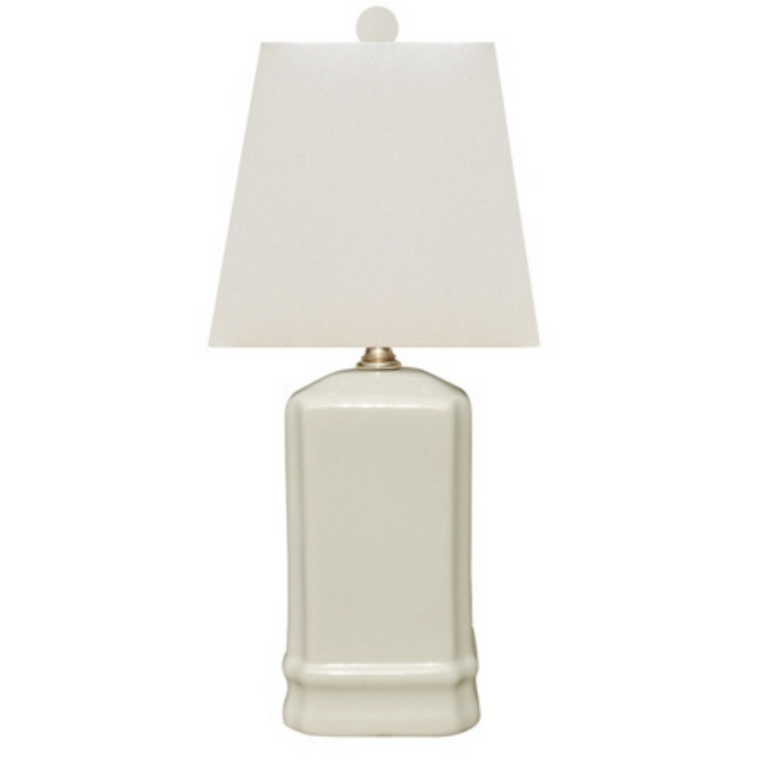 Mini Porcelain Dove Cream Square Table Lamp