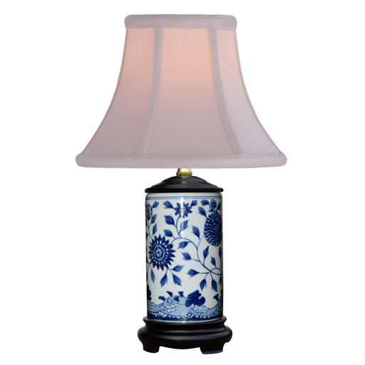 Mini Porcelain Blue and White Flower Table Lamp