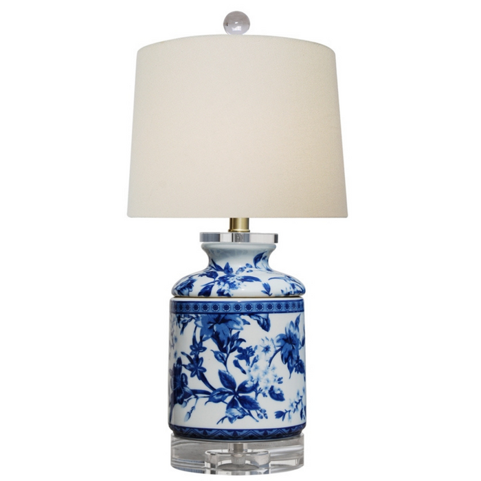 Mini Porcelain Blue & White Chrysanthemum Table Lamp