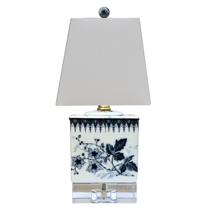 Mini Porcelain Dark Blue & White Floral Square Table Lamp