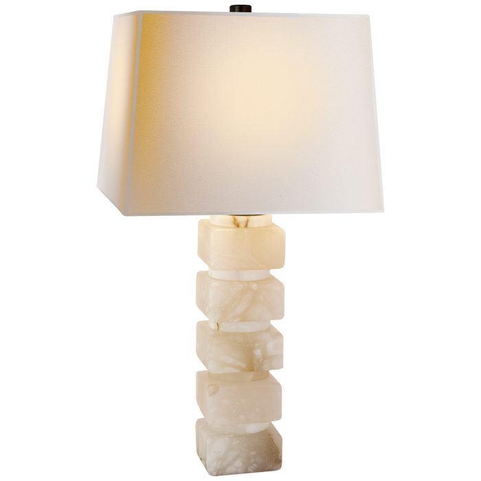 Square Chunky Stacked Table Lamp in Alabaster with Natural Paper Shade