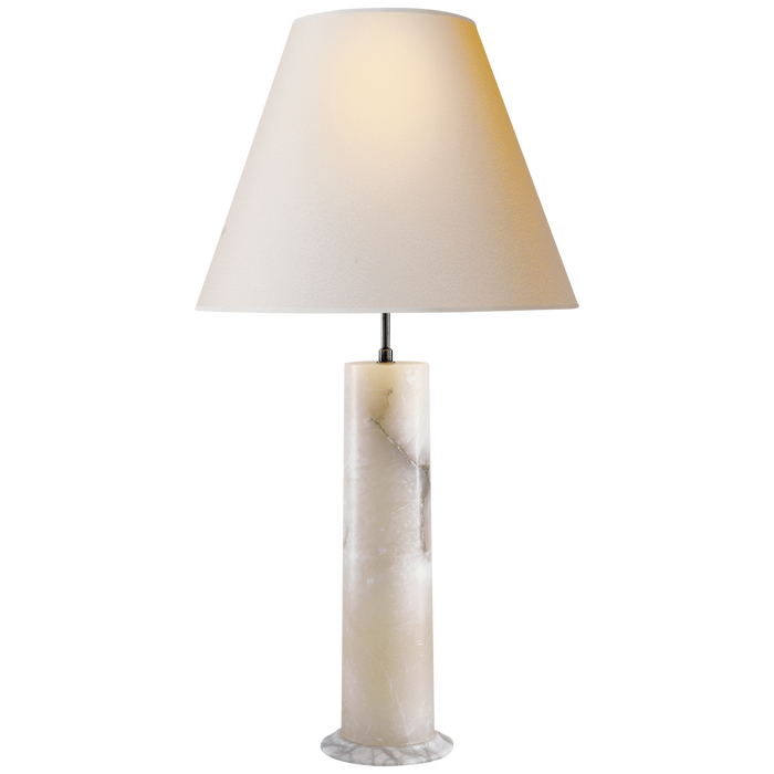 London Column Table Lamp in Alabaster with Natural Paper Shade