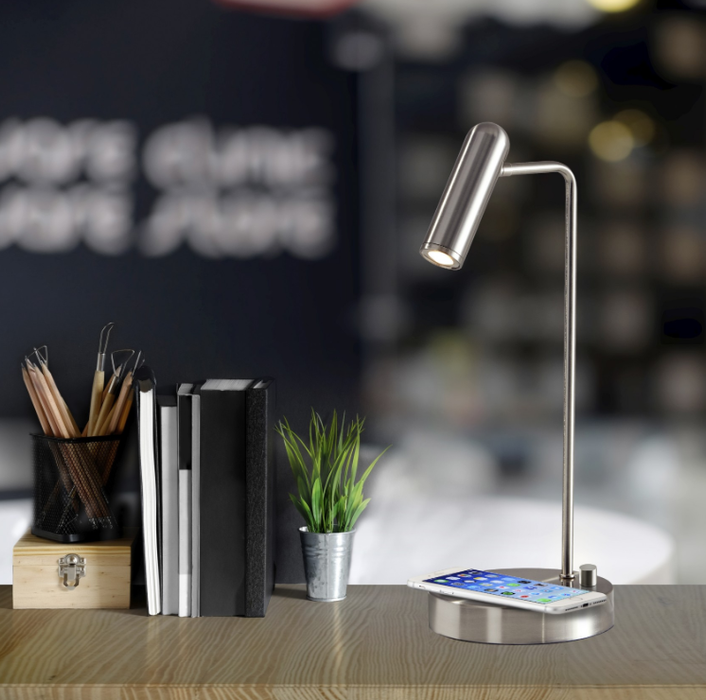 Kaye Brushed Steel LED Desk Lamp