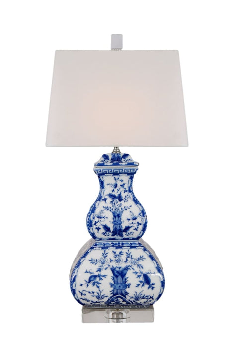BLUE & WHITE PORCELAIN ENGLISH RECTANGLE GOURD TABLE LAMP CRYSTAL BASE Lighting