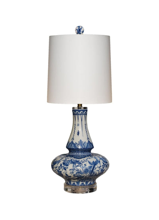 BLUE & WHITE PORCELAIN LONG NECK TABLE LAMP CRYSTAL BASE Lighting