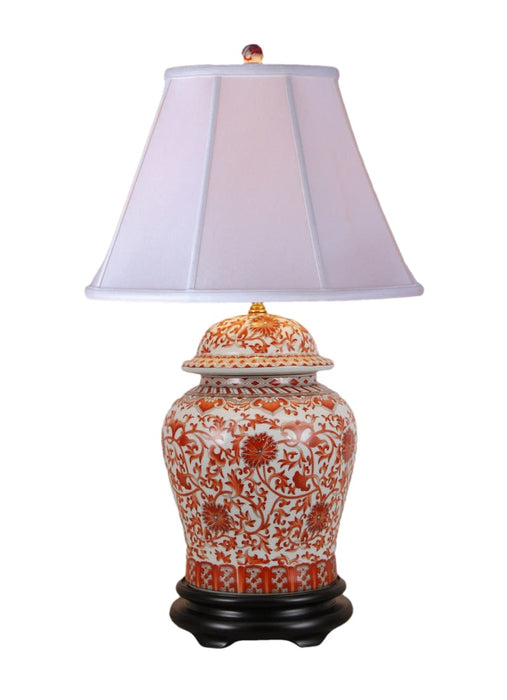 Floral Orange Temple Jar Porcelain Lamp Lighting