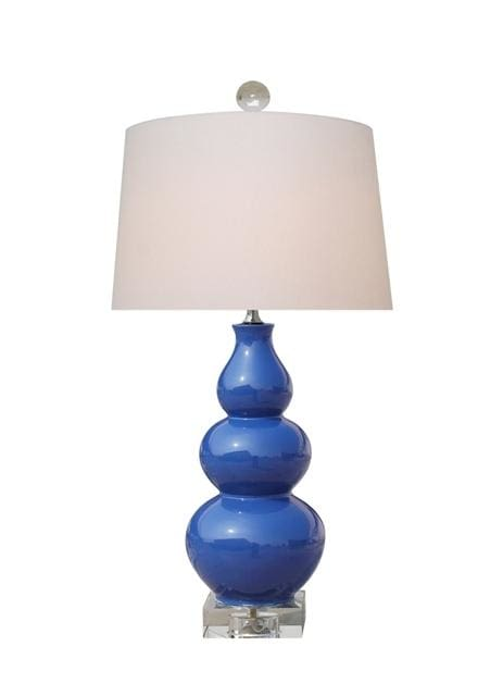 Navy Blue Porcelain Gourd Lamp With Crystal Base Lighting