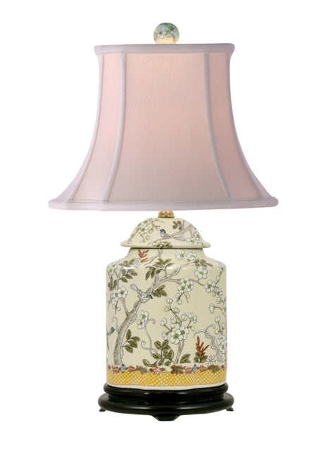 Porcelain Plum Birds Scalloped Tea Jar Lamp