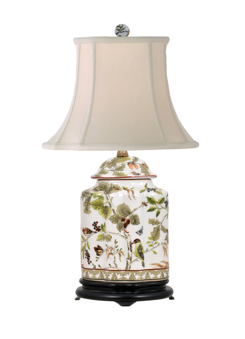 Porcelain Birds & Leaves Scalloped Tea Jar Table Lamp