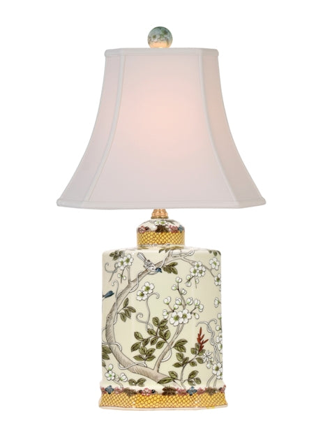Porcelain Yellow Birds Rectangle Urn Table Lamp