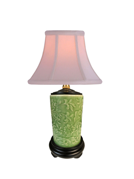 Classic Mini Green Porcelain with Raised Design Table Lamp