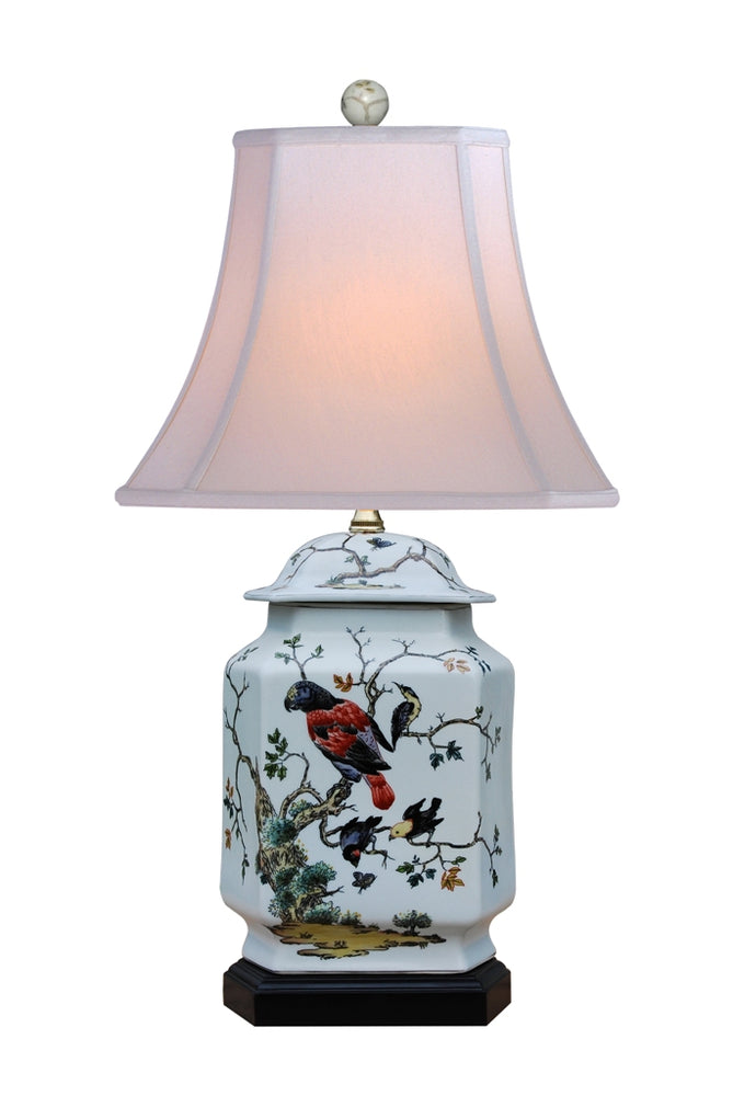 Porcelain Parrot Six Sides Jar Table Lamp
